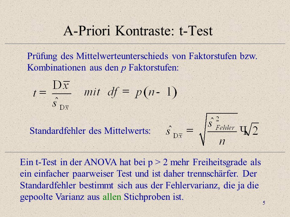 A-Priori Kontraste: t-Test