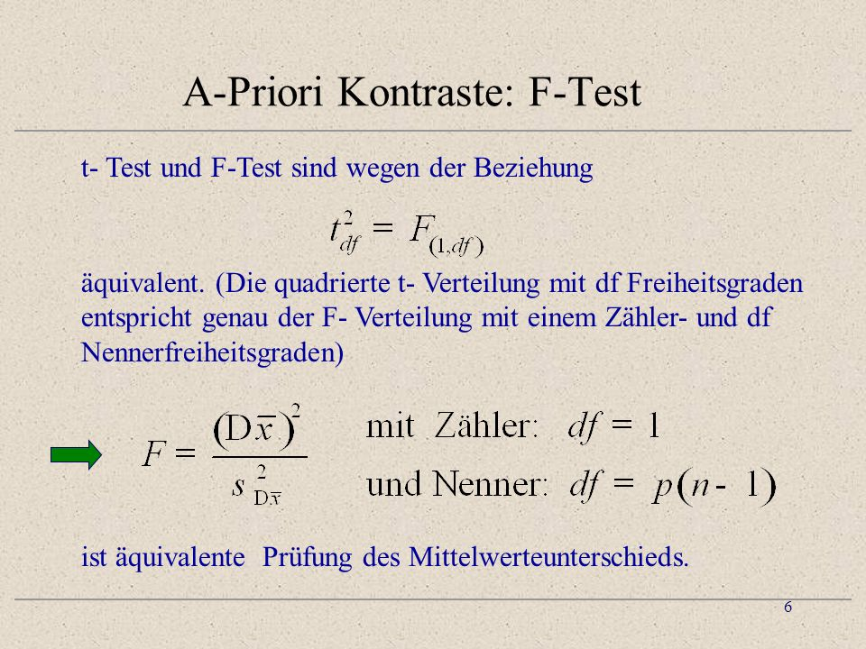 A-Priori Kontraste: F-Test