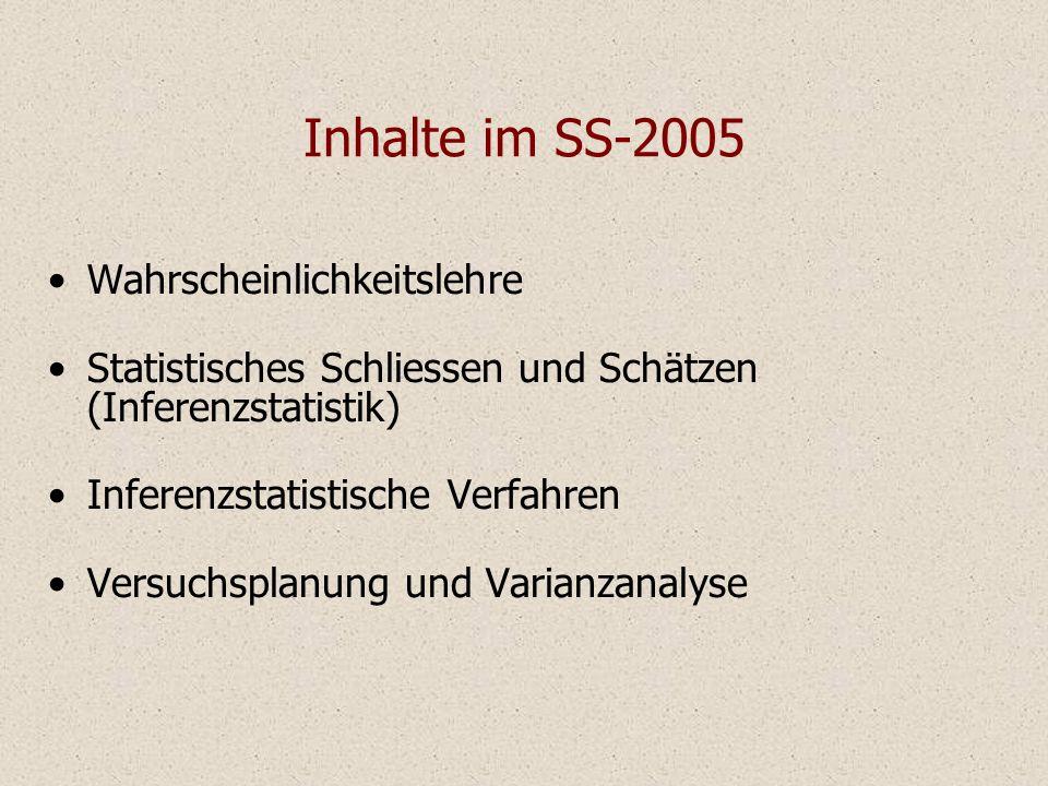 Inhalte im SS-2005 Wahrscheinlichkeitslehre