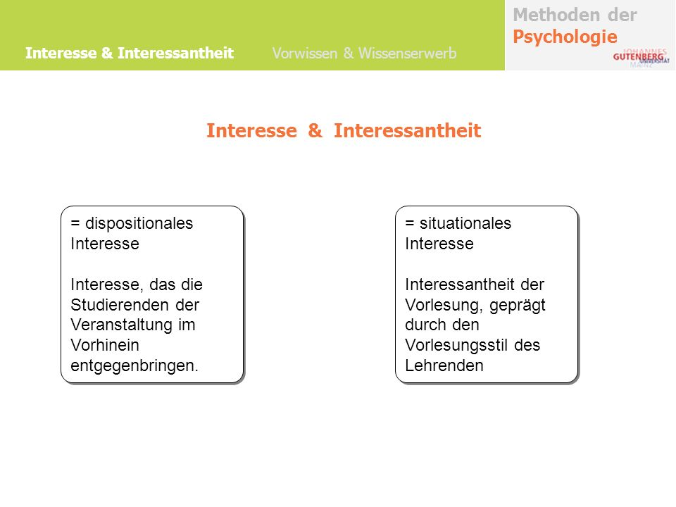 Interesse & Interessantheit = dispositionales Interesse