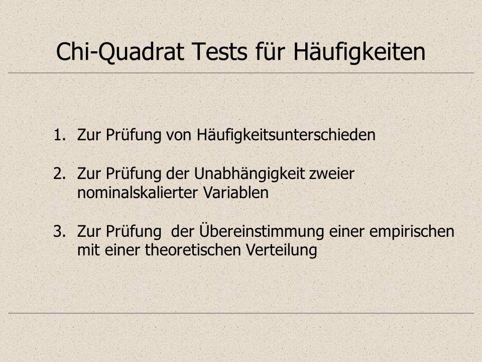 Chi-Quadrat Tests für Häufigkeiten