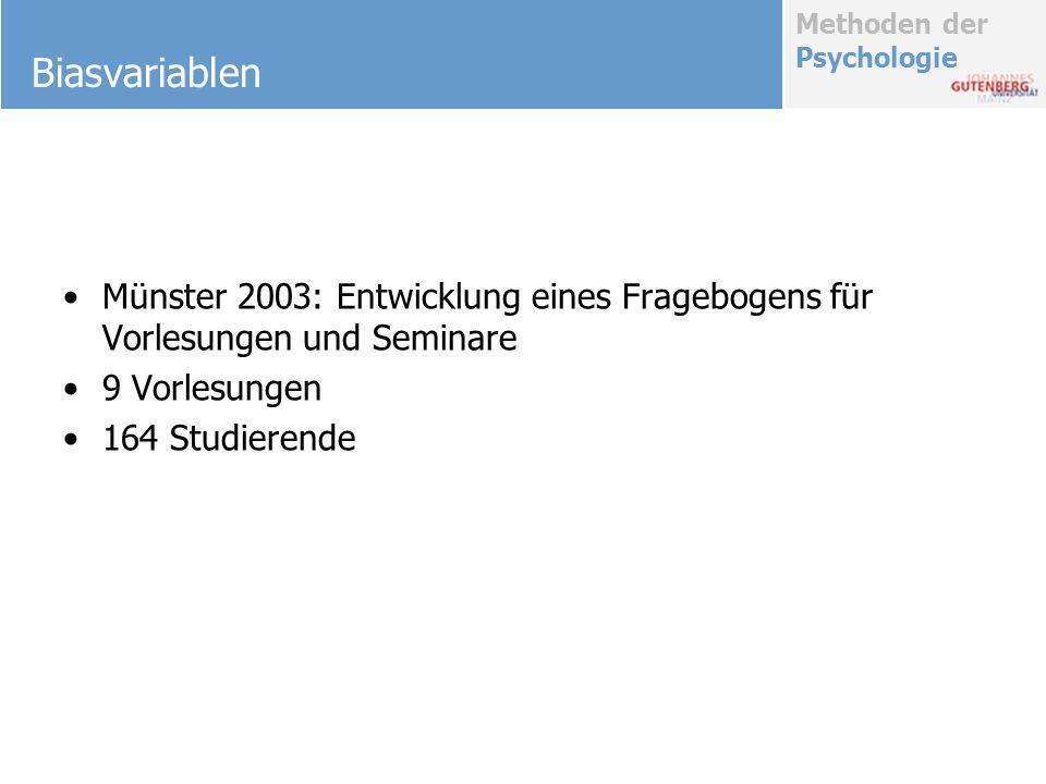 Biasvariablen Münster 2003: Entwicklung eines Fragebogens für Vorlesungen und Seminare. 9 Vorlesungen.