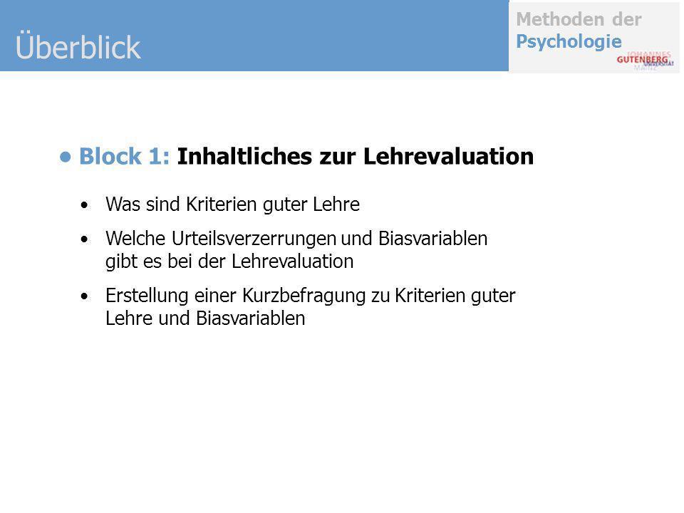 Überblick • Block 1: Inhaltliches zur Lehrevaluation