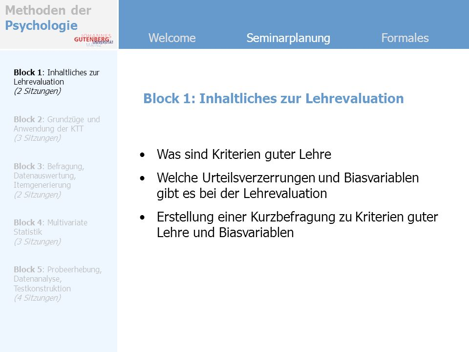 Block 1: Inhaltliches zur Lehrevaluation