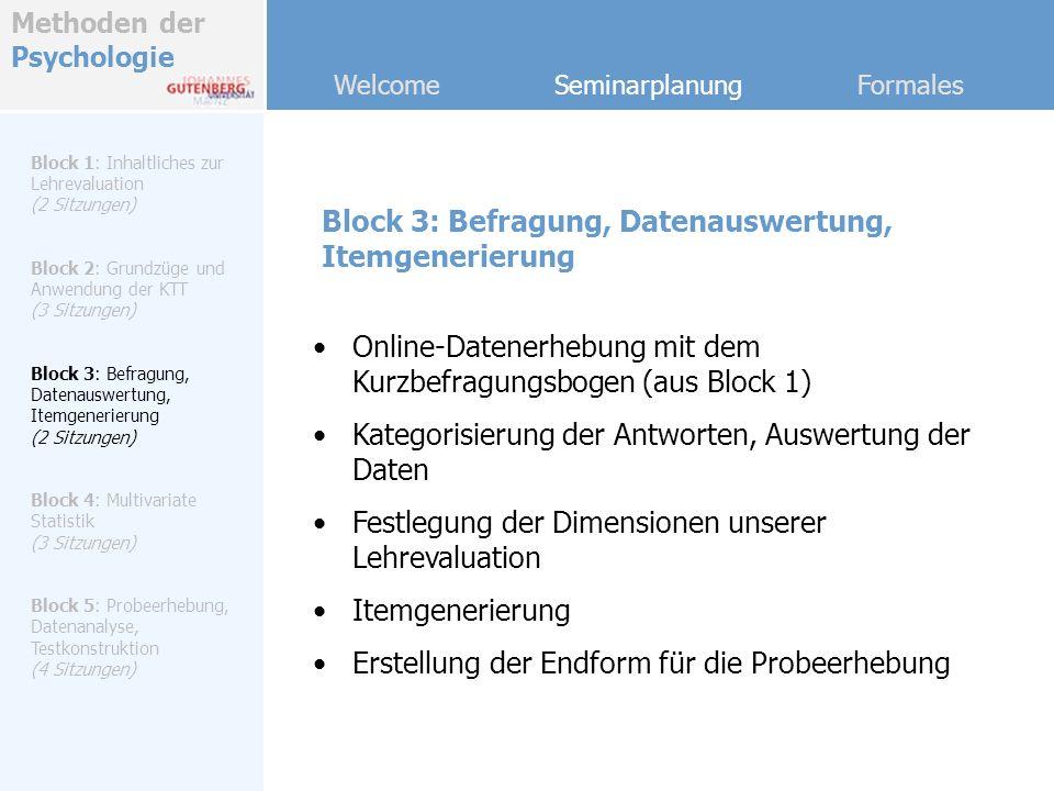 Block 3: Befragung, Datenauswertung, Itemgenerierung