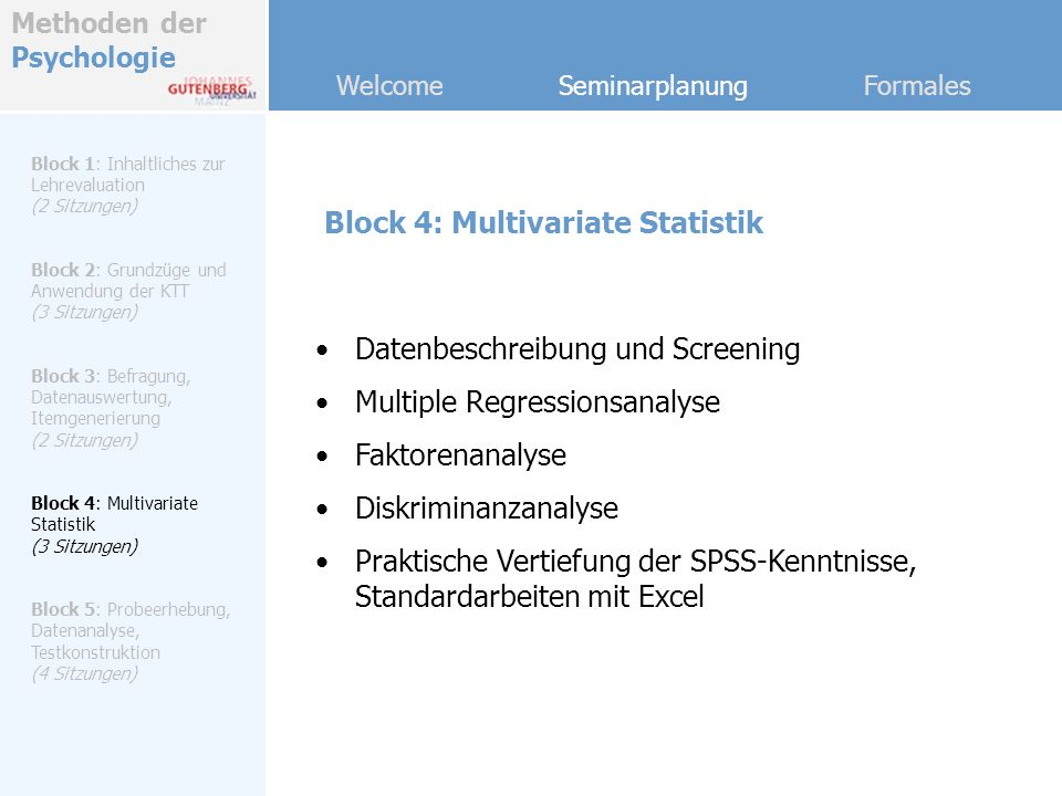 Block 4: Multivariate Statistik