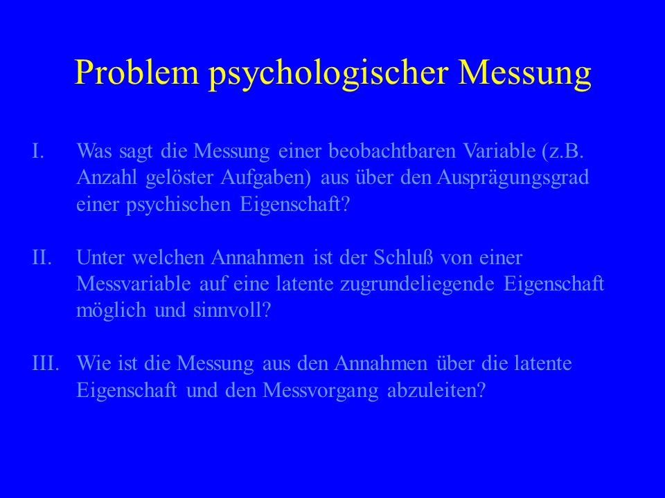 Problem psychologischer Messung