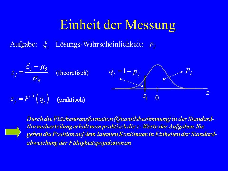 Einheit der Messung Aufgabe: Lösungs-Wahrscheinlichkeit: z zj