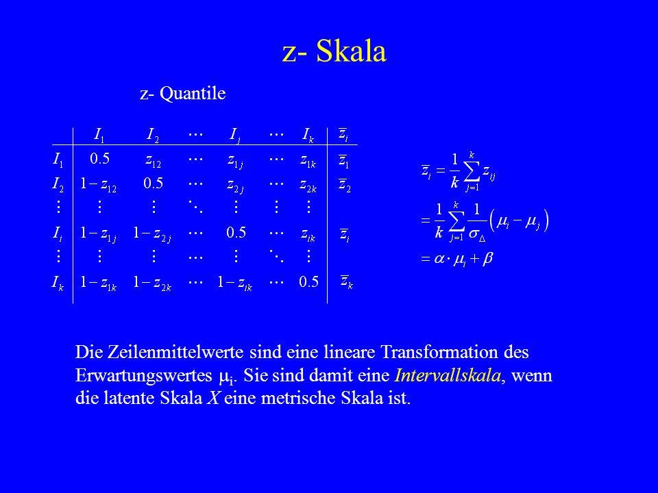 z- Skala z- Quantile. Die Zeilenmittelwerte sind eine lineare Transformation des Erwartungswertes mi. Sie sind damit eine Intervallskala, wenn.