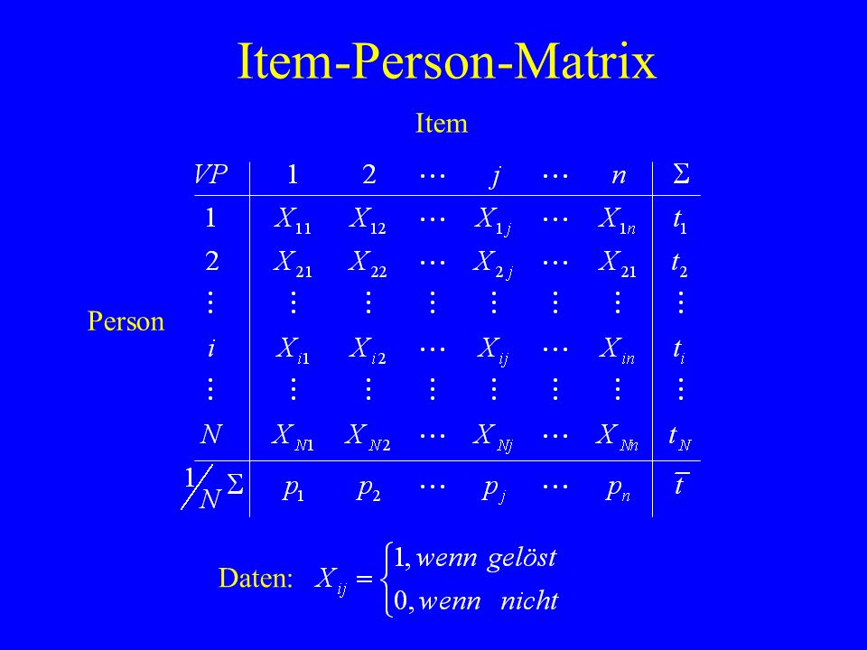 Item-Person-Matrix Item Person Daten: