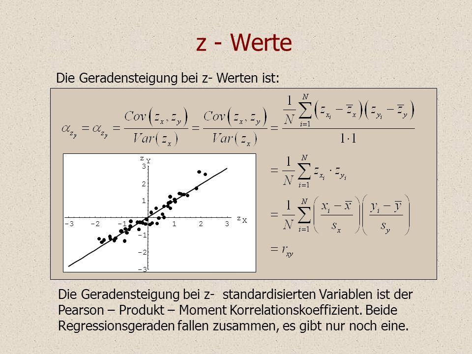 z - Werte Die Geradensteigung bei z- Werten ist: