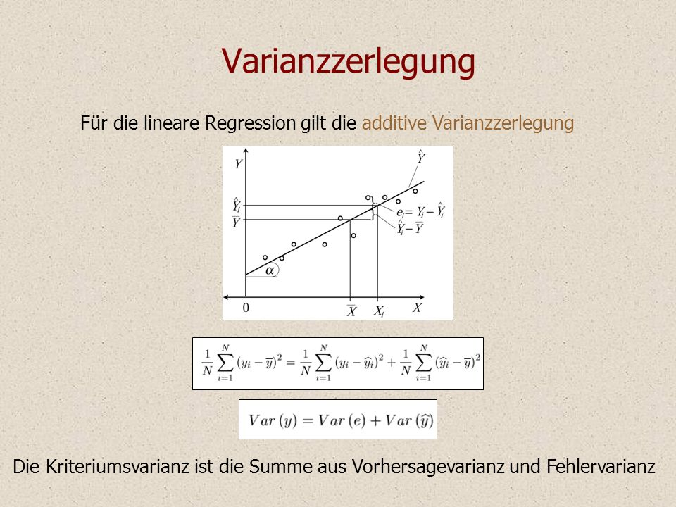Varianzzerlegung Für die lineare Regression gilt die additive Varianzzerlegung.