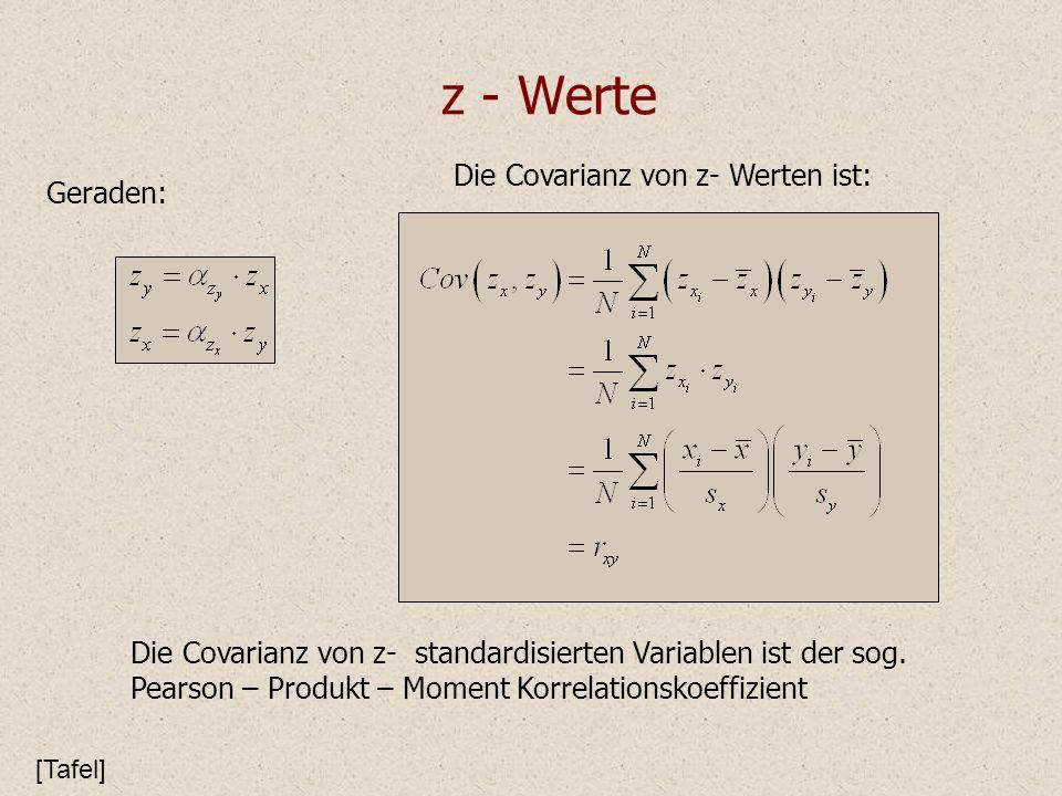 z - Werte Die Covarianz von z- Werten ist: Geraden: