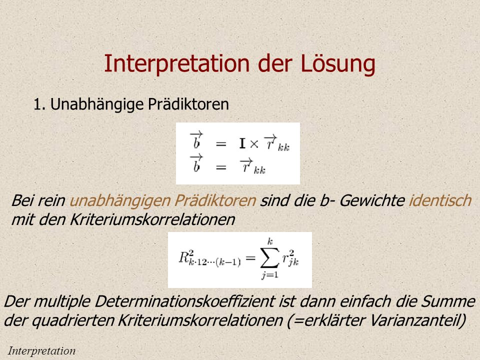 Interpretation der Lösung