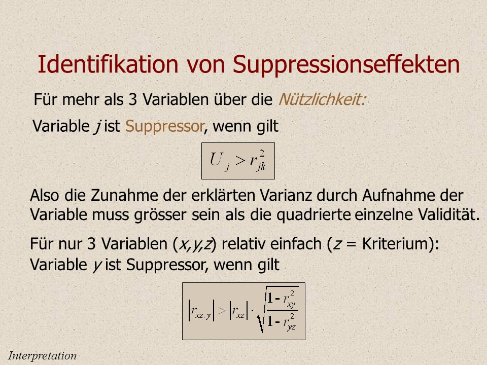 Identifikation von Suppressionseffekten