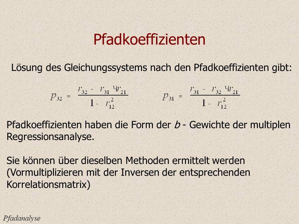 Pfadkoeffizienten Lösung des Gleichungssystems nach den Pfadkoeffizienten gibt: Pfadkoeffizienten haben die Form der b - Gewichte der multiplen.