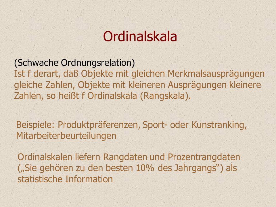 Ordinalskala (Schwache Ordnungsrelation)