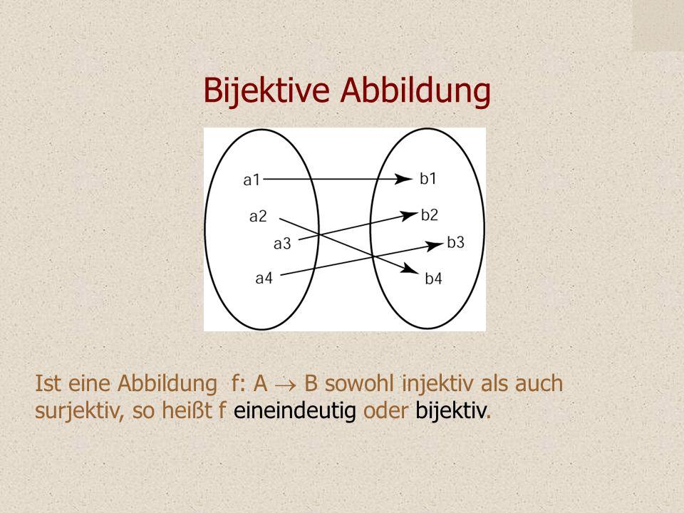 Bijektive Abbildung Ist eine Abbildung f: A ® B sowohl injektiv als auch surjektiv, so heißt f eineindeutig oder bijektiv.