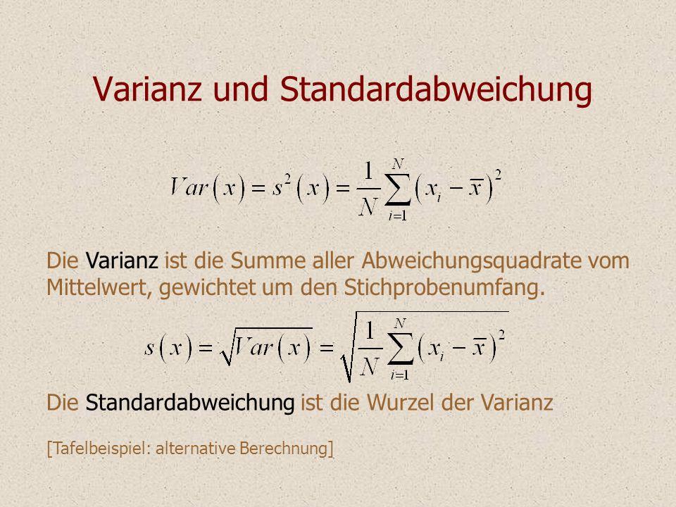 Varianz und Standardabweichung