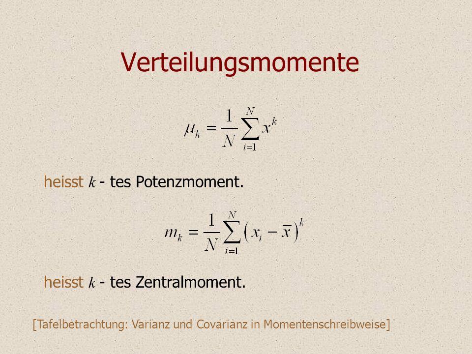 Verteilungsmomente heisst k - tes Potenzmoment.