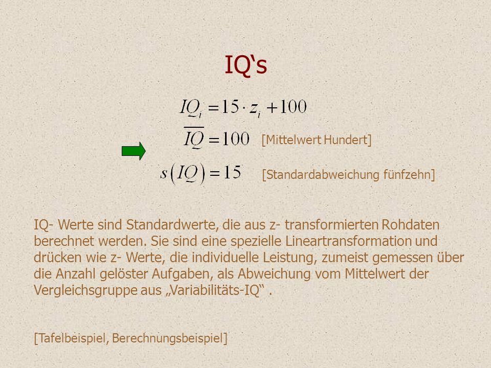 IQ's IQ- Werte sind Standardwerte, die aus z- transformierten Rohdaten