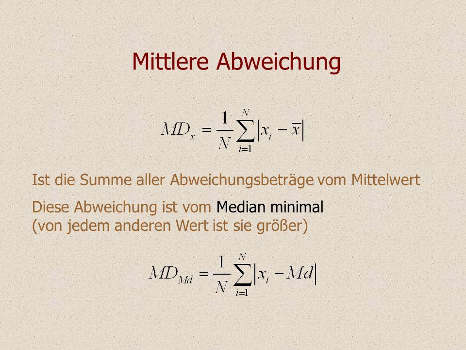 Mittlere Abweichung Ist die Summe aller Abweichungsbeträge vom Mittelwert. Diese Abweichung ist vom Median minimal.