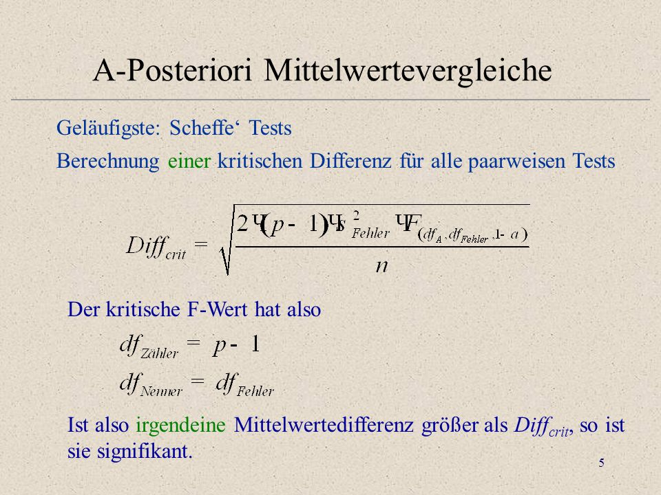 A-Posteriori Mittelwertevergleiche