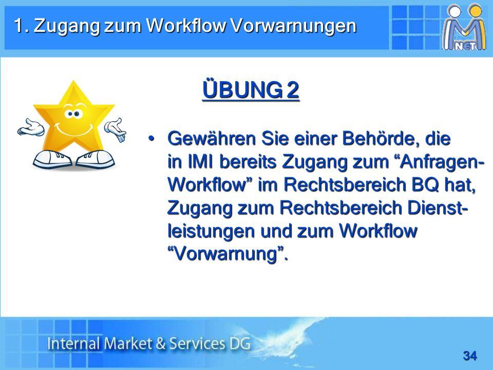 1. Zugang zum Workflow Vorwarnungen