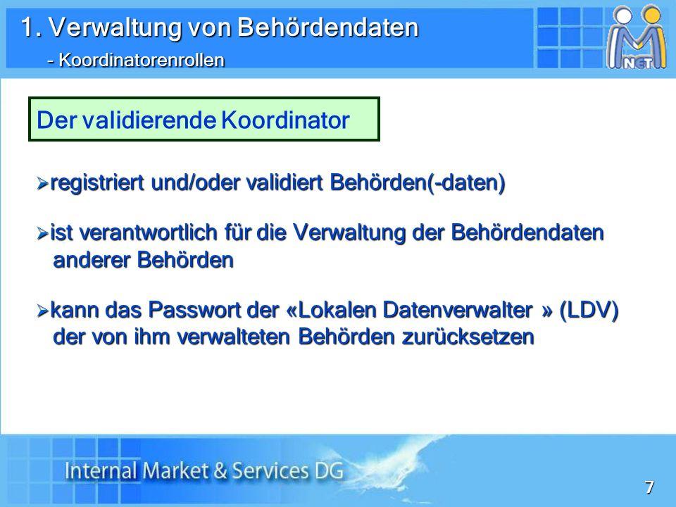 1. Verwaltung von Behördendaten - Koordinatorenrollen
