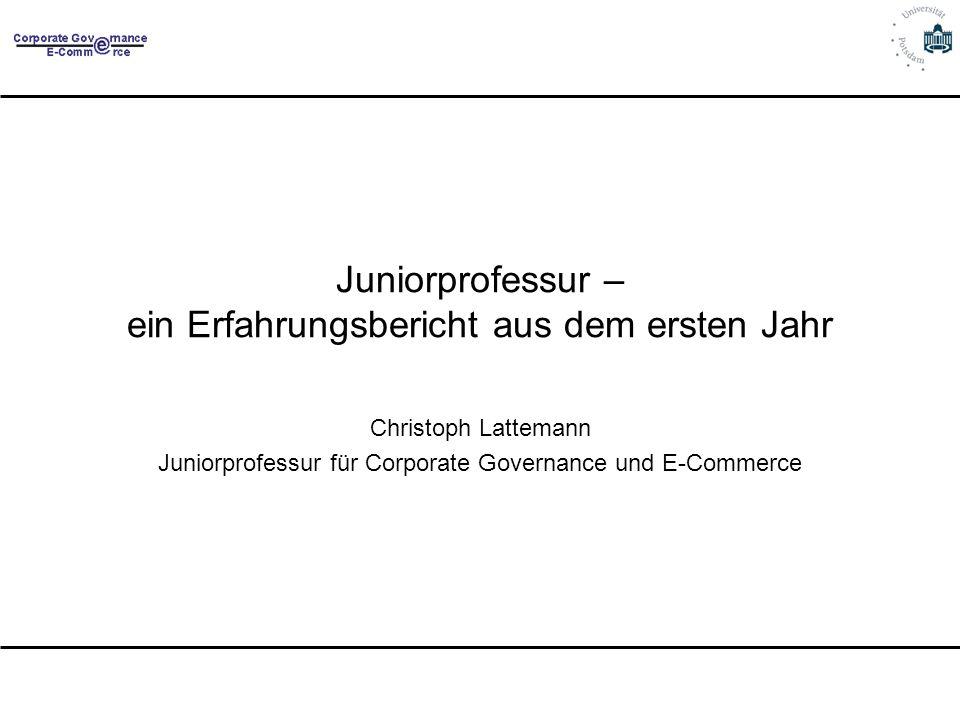 Juniorprofessur – ein Erfahrungsbericht aus dem ersten Jahr