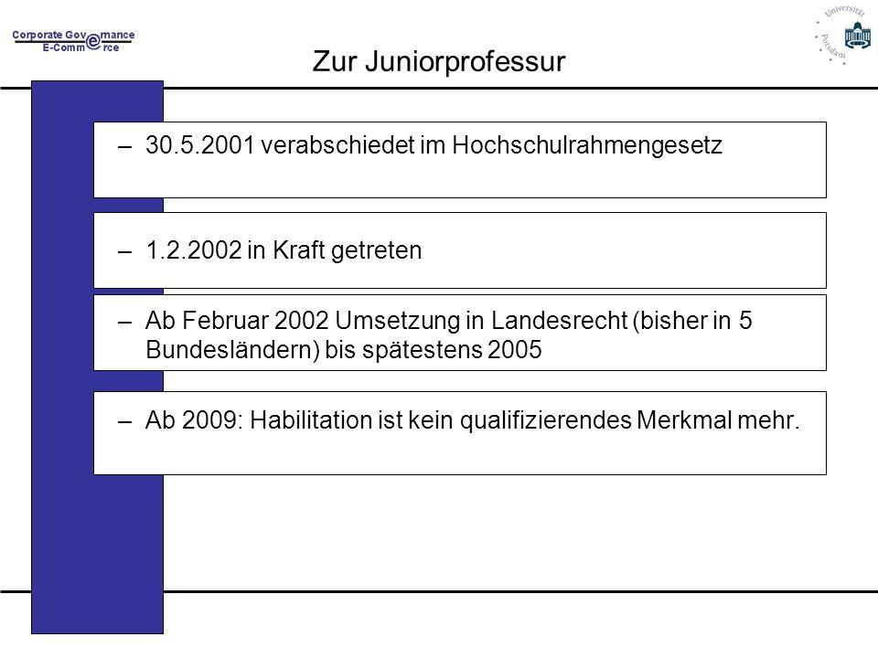 Zur Juniorprofessur 30.5.2001 verabschiedet im Hochschulrahmengesetz