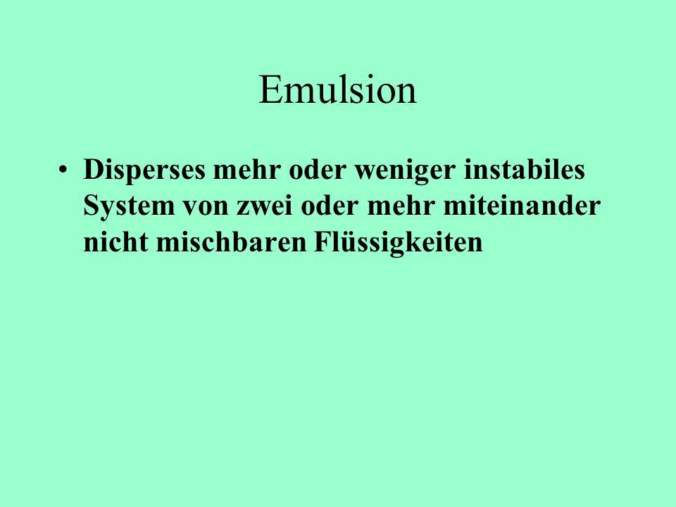 Emulsion Disperses mehr oder weniger instabiles System von zwei oder mehr miteinander nicht mischbaren Flüssigkeiten.