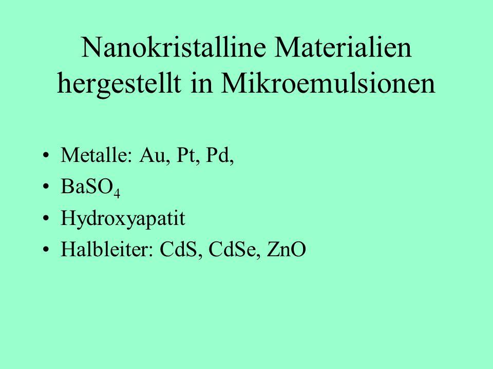 Nanokristalline Materialien hergestellt in Mikroemulsionen