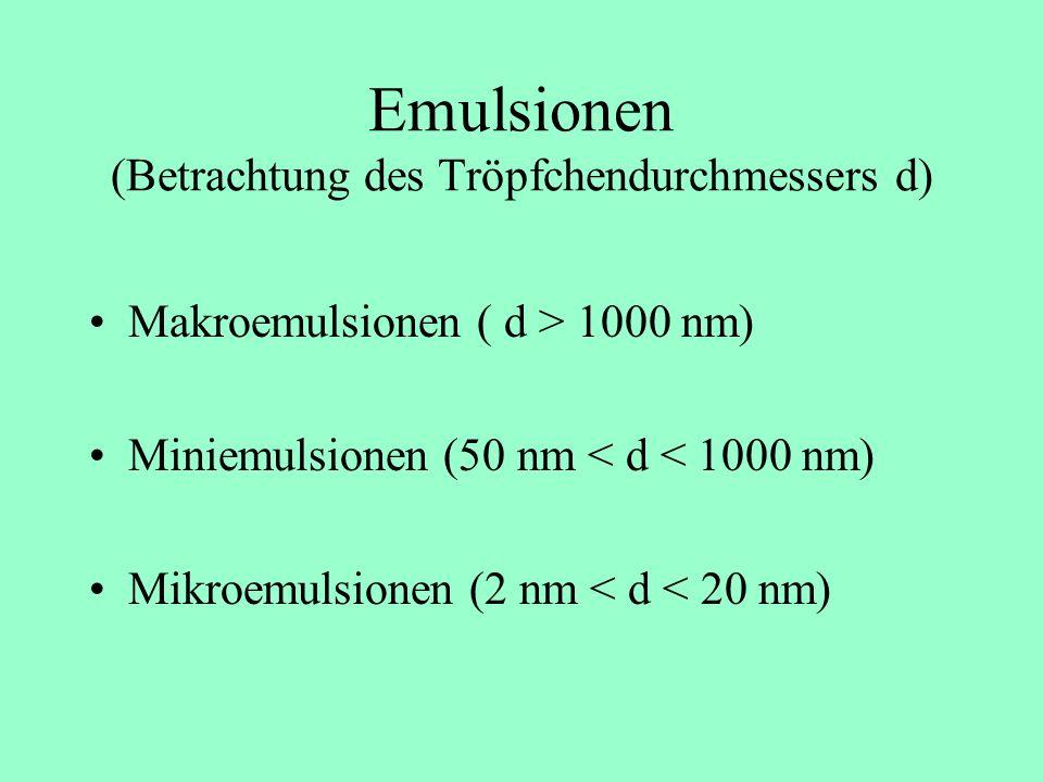 Emulsionen (Betrachtung des Tröpfchendurchmessers d)