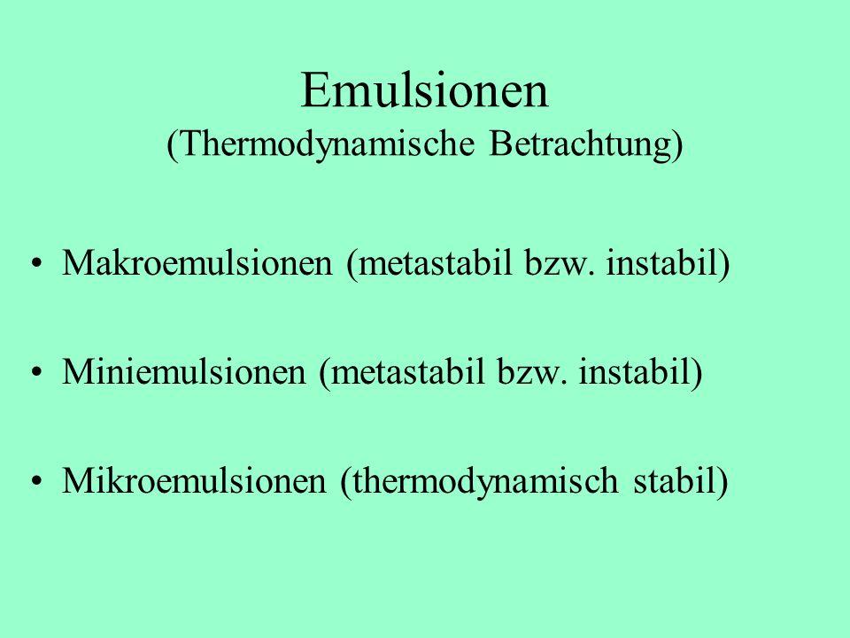 Emulsionen (Thermodynamische Betrachtung)