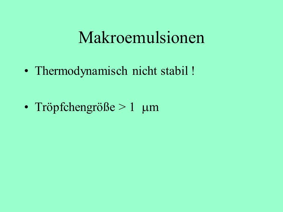 Makroemulsionen Thermodynamisch nicht stabil !