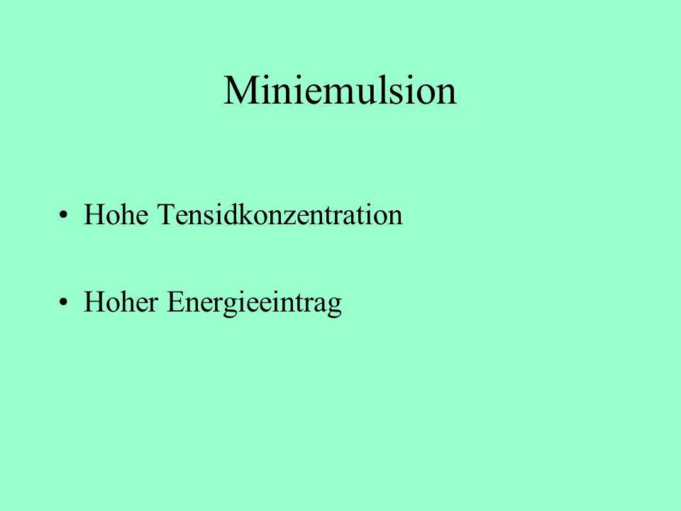 Miniemulsion Hohe Tensidkonzentration Hoher Energieeintrag