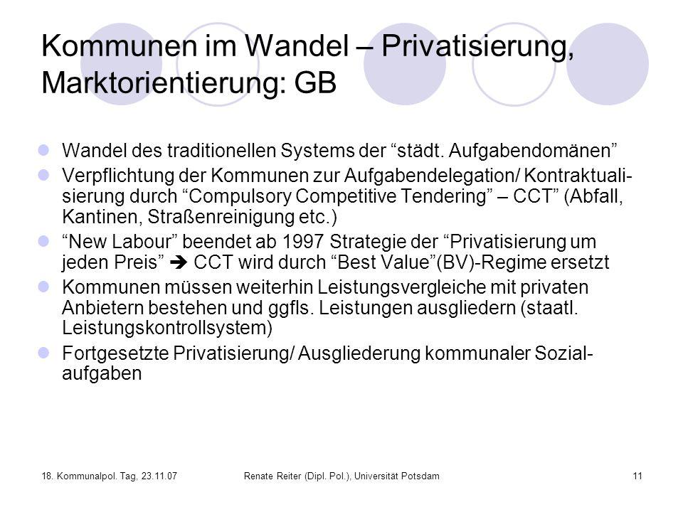 Kommunen im Wandel – Privatisierung, Marktorientierung: GB