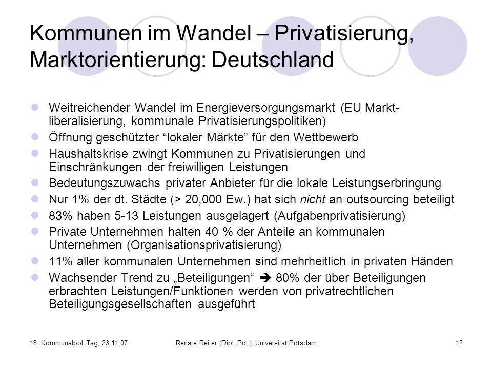 Kommunen im Wandel – Privatisierung, Marktorientierung: Deutschland