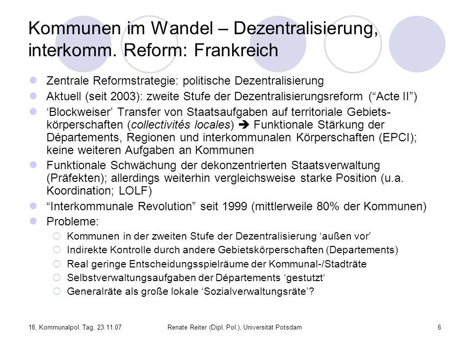 Kommunen im Wandel – Dezentralisierung, interkomm. Reform: Frankreich