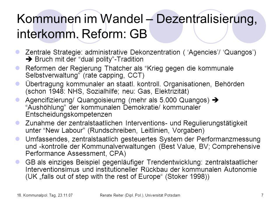 Kommunen im Wandel – Dezentralisierung, interkomm. Reform: GB