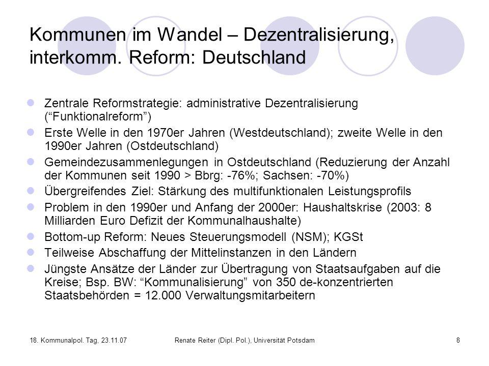 Kommunen im Wandel – Dezentralisierung, interkomm. Reform: Deutschland