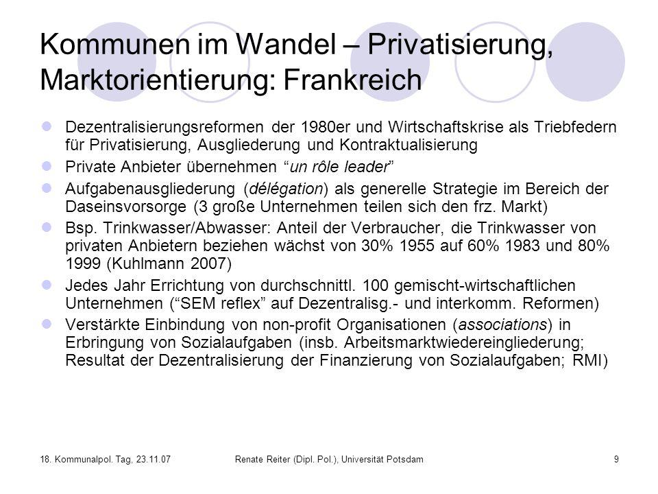 Kommunen im Wandel – Privatisierung, Marktorientierung: Frankreich