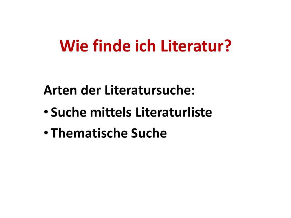 Wie finde ich Literatur