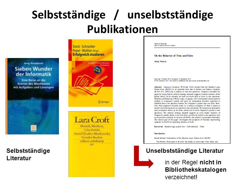 Selbstständige / unselbstständige Publikationen