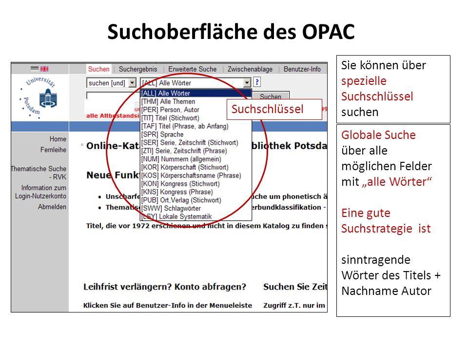 Suchoberfläche des OPAC