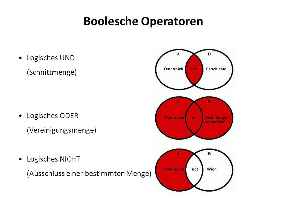 Boolesche Operatoren Logisches UND (Schnittmenge) Logisches ODER