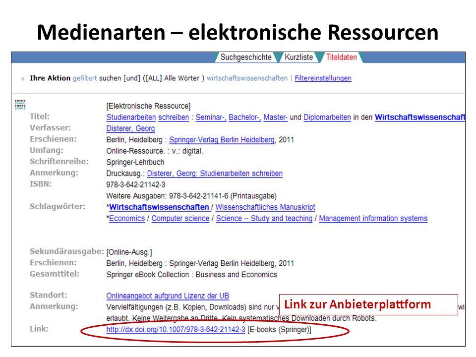 Medienarten – elektronische Ressourcen