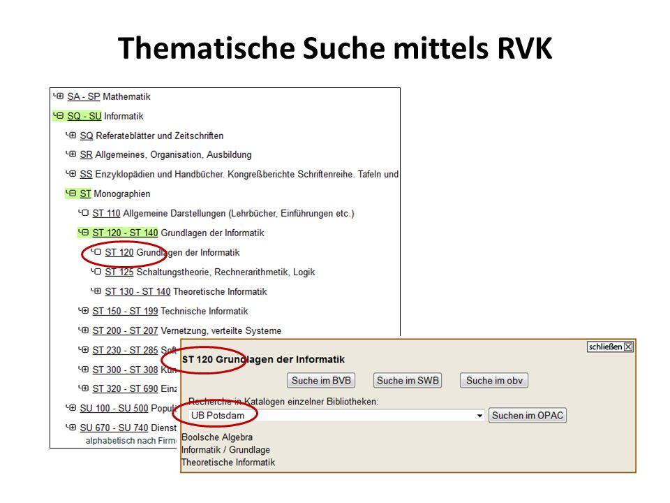Thematische Suche mittels RVK