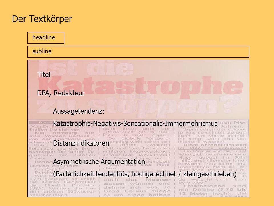Der Textkörper Titel DPA, Redakteur Aussagetendenz:
